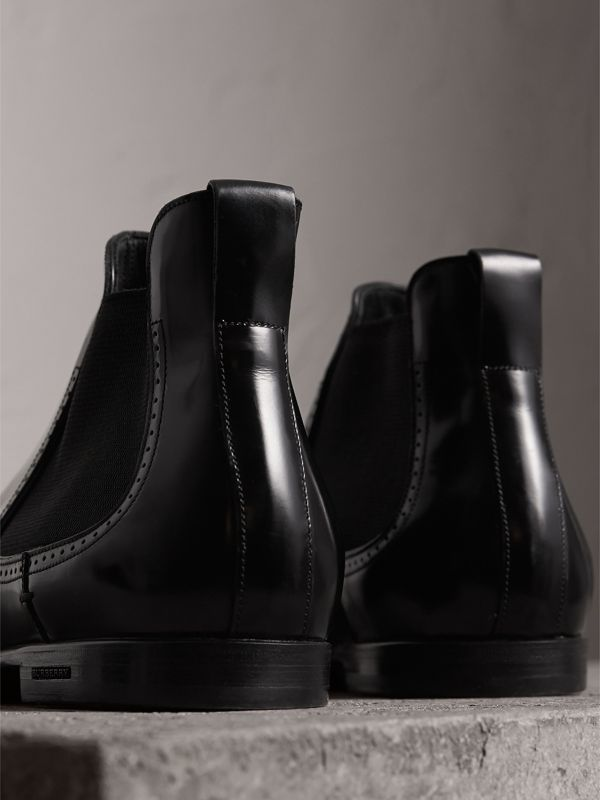 Perforated Detail Leather Chelsea Boots in Black - Men | Burberry Singapore - cell image 3
