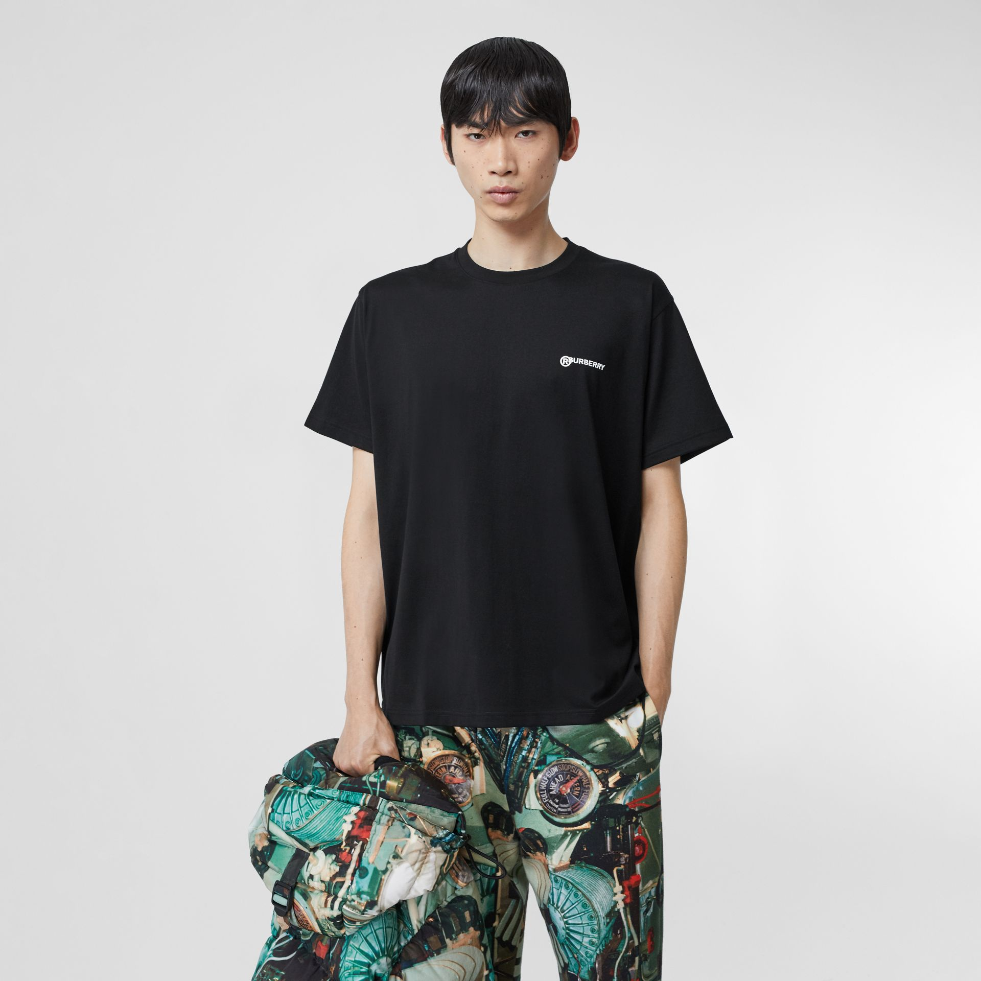 Location Print Cotton Oversized T-shirt in Black - Men | Burberry - gallery image 5