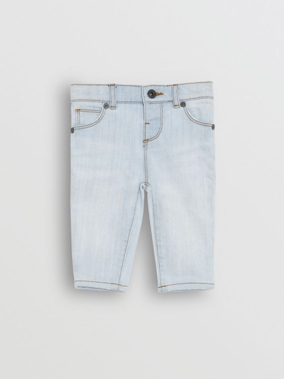 Skinny Fit Stretch Denim Jeans in Light Blue