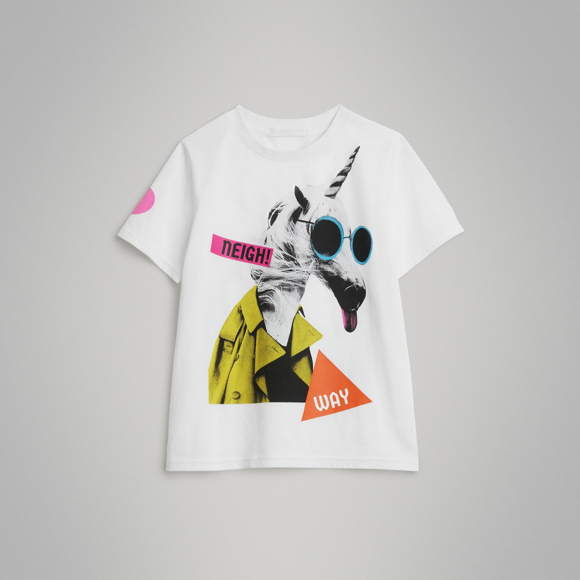 Unicorn Print Cotton T-shirt in White | Burberry United Kingdom - gallery image 0