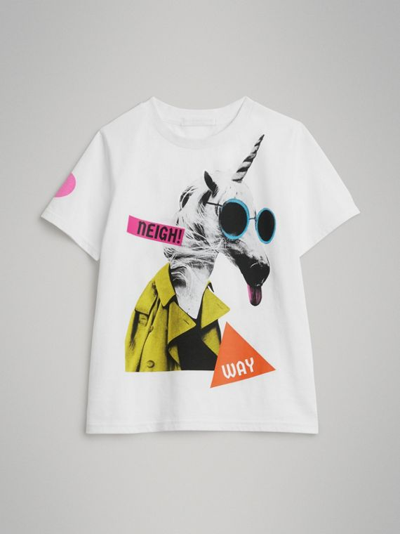 Unicorn Print Cotton T-shirt in White