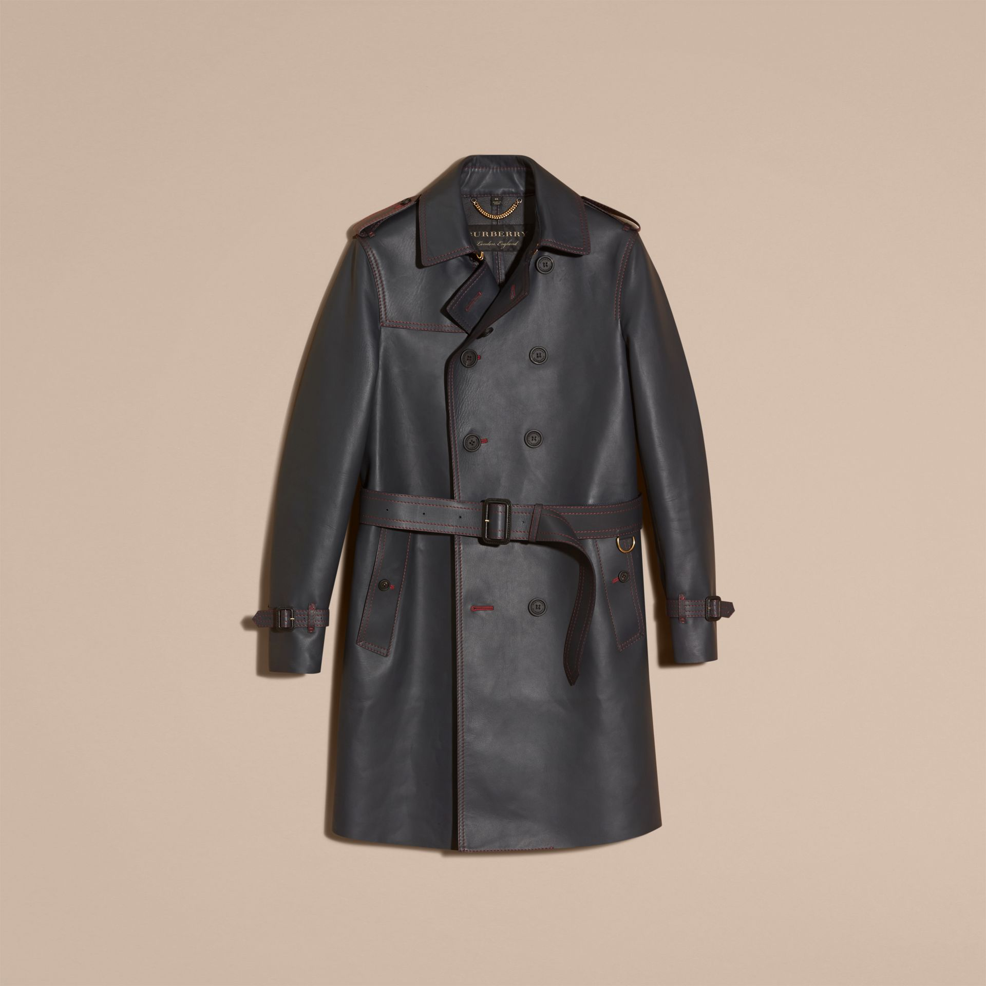 Dark navy Lambskin Trench Coat with Regimental Topstitching - gallery image 4
