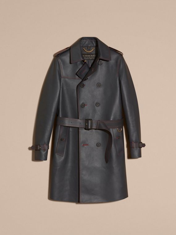 Navy scuro Trench coat in pelle di agnello con impunture militari - cell image 3