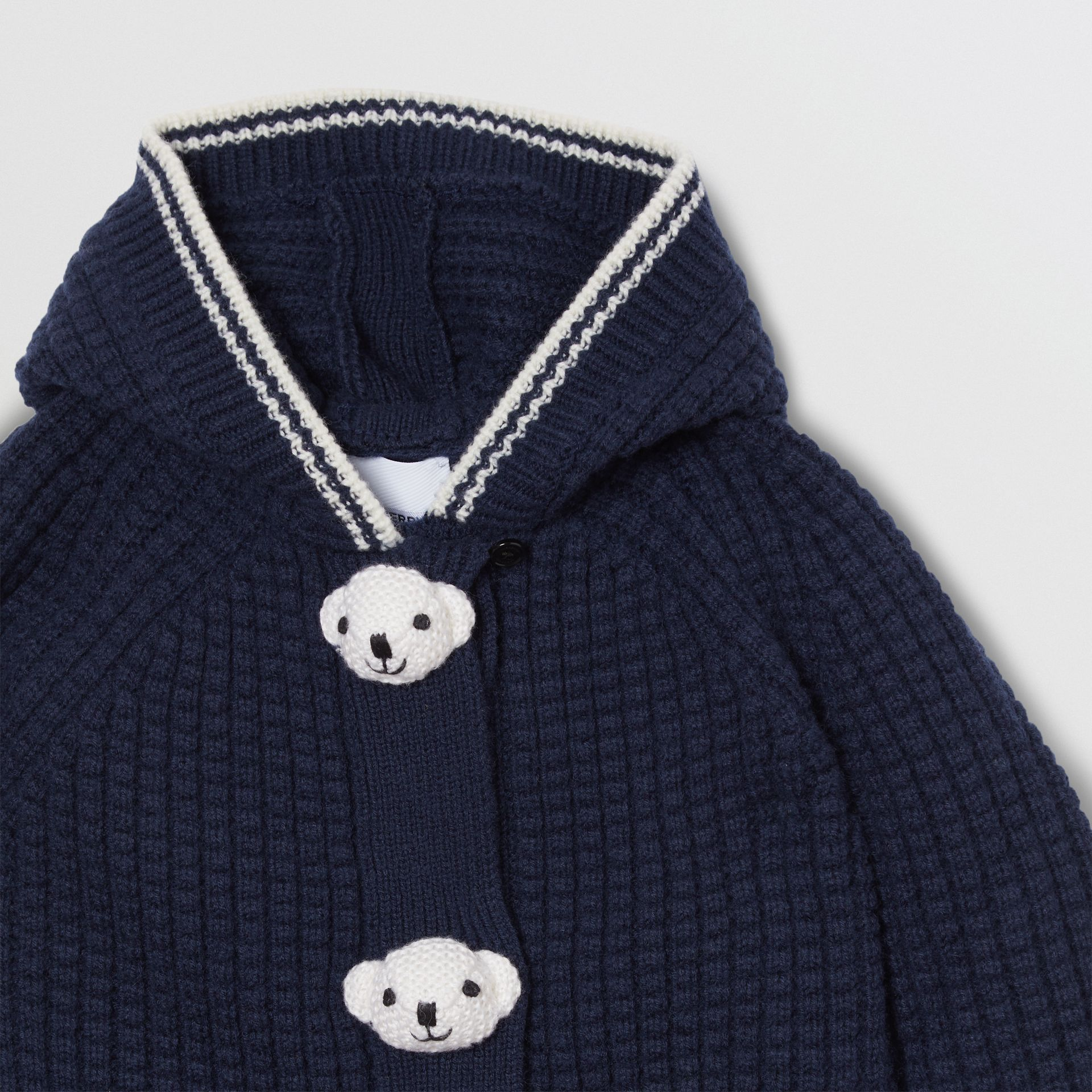 Thomas Bear Detail Wool Cashmere Hooded Jacket in Navy - Children | Burberry United States - gallery image 4