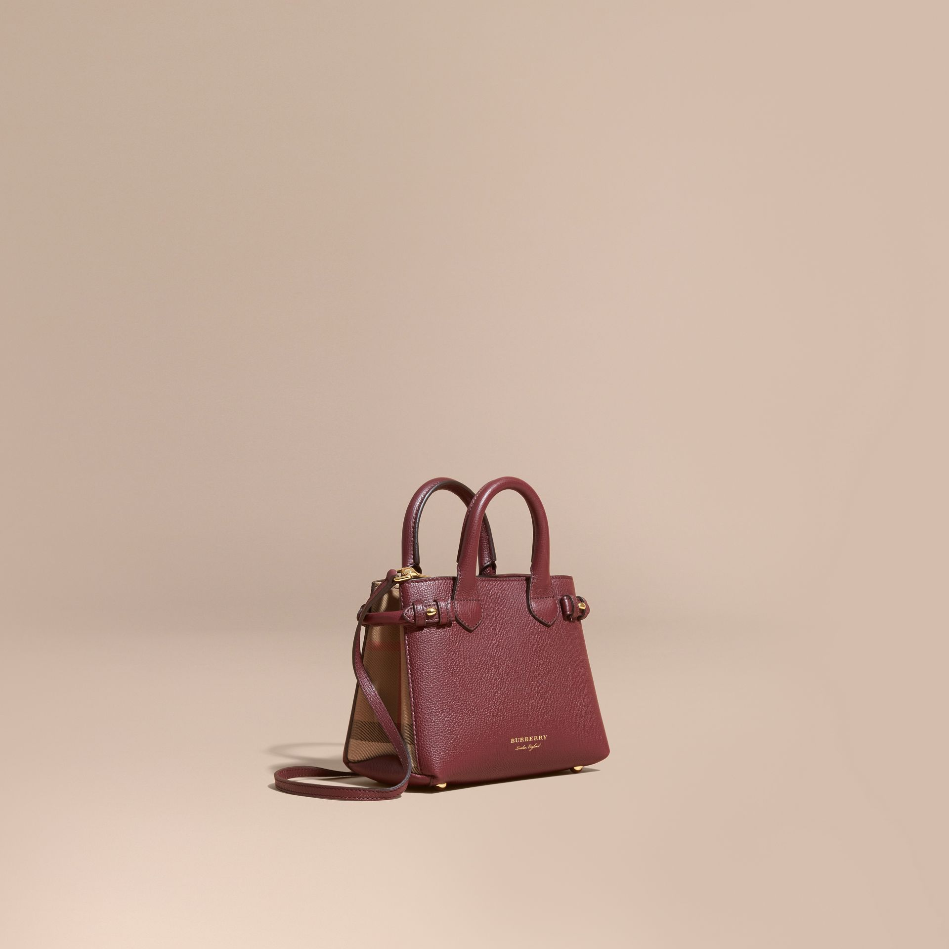 The Baby Banner in Leather and House Check in Mahogany Red - Women | Burberry Canada - gallery image 1