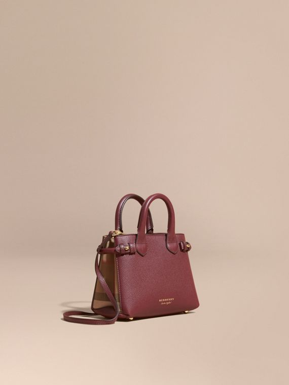 Borsa The Baby Banner in pelle con motivo House check (Rosso Mogano) - Donna | Burberry