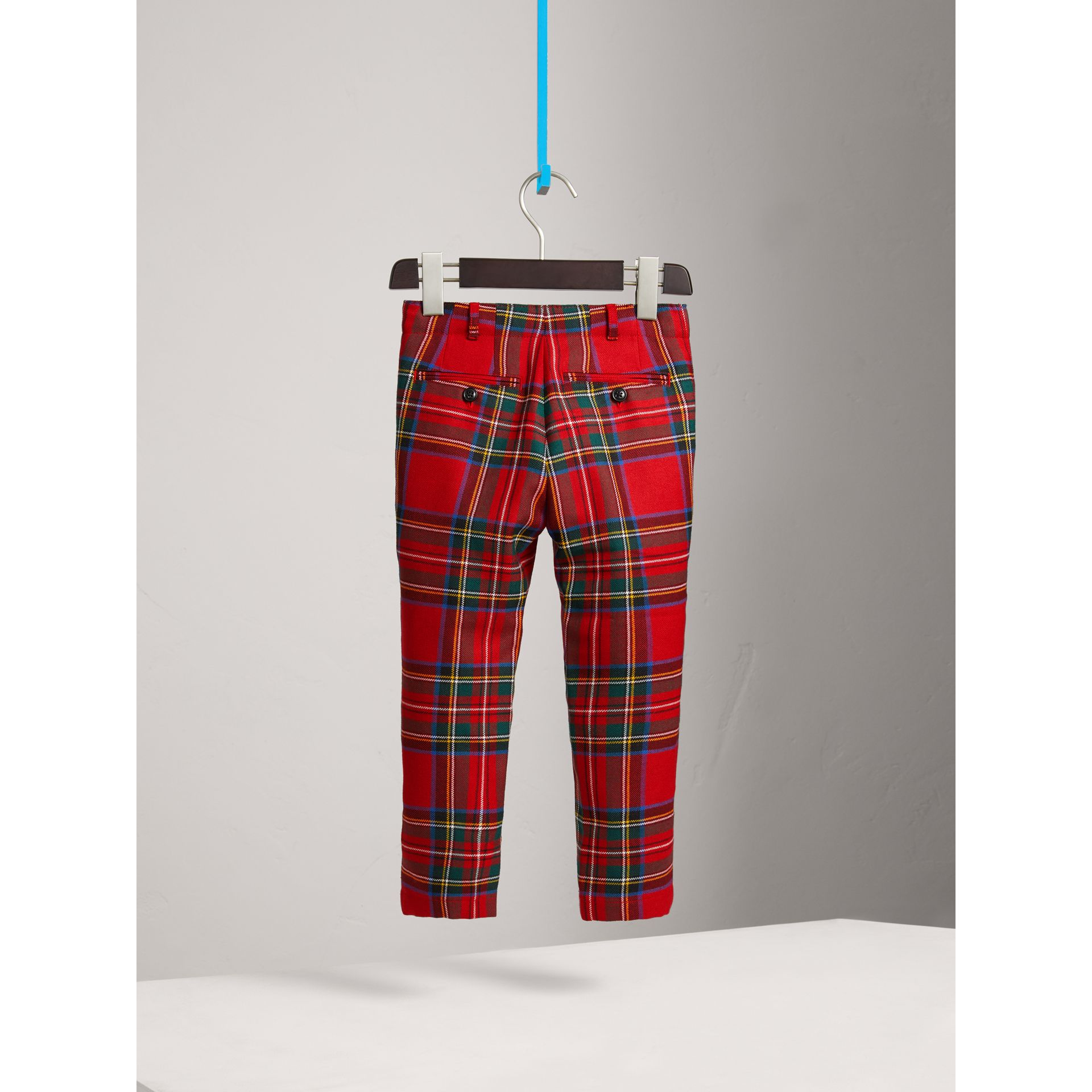 Tartan Wool Trousers in Bright Red | Burberry - gallery image 3