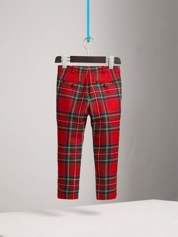 Tartan Wool Trousers in Bright Red | Burberry - cell image 3