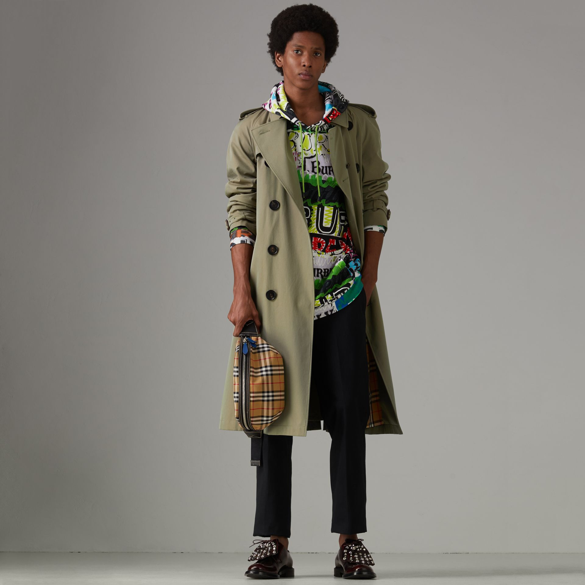 Tropical Gabardine Oversized Trench Coat in Chalk Green - Men | Burberry Australia - gallery image 0