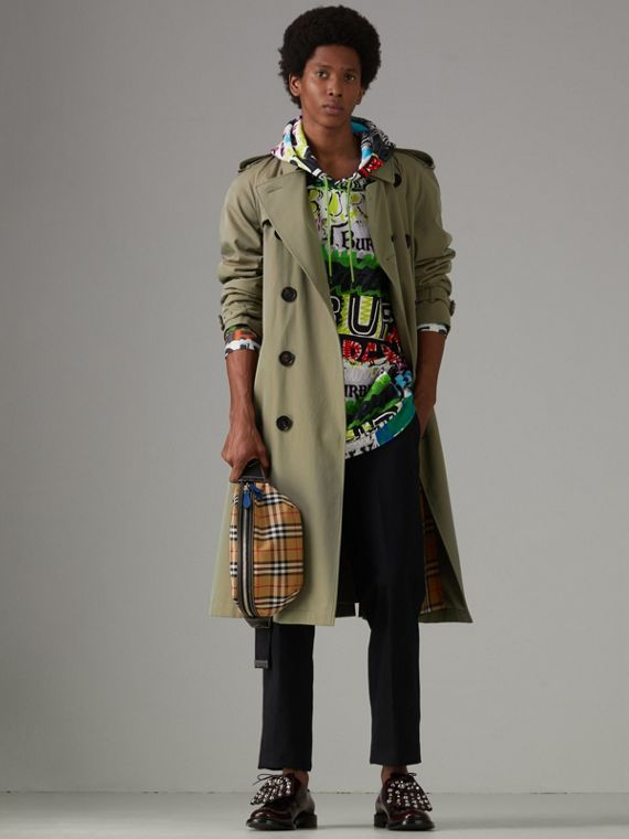 Tropical Gabardine Oversized Trench Coat in Chalk Green