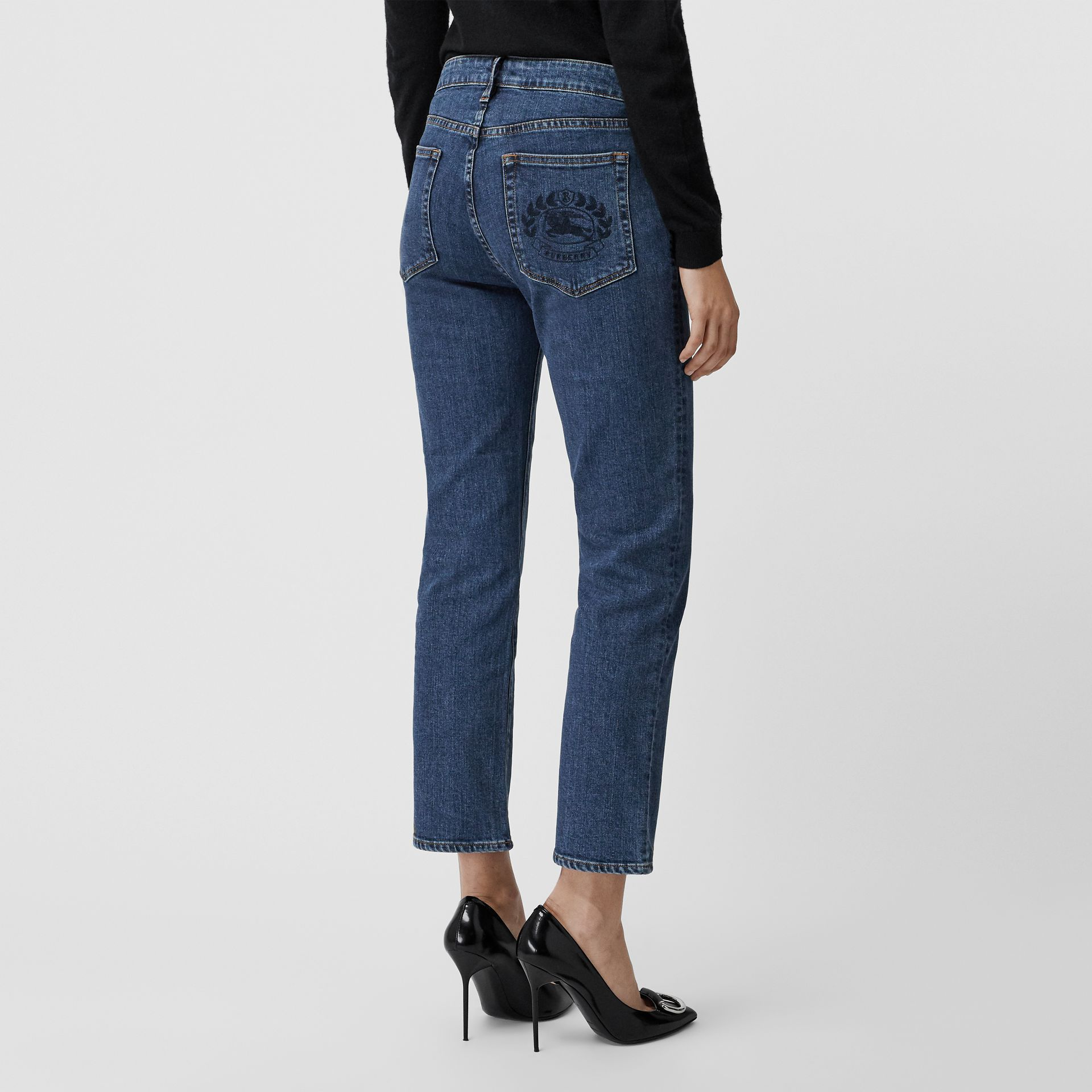 Straight Fit Japanese Denim Jeans in Blue - Women | Burberry United Kingdom - gallery image 2