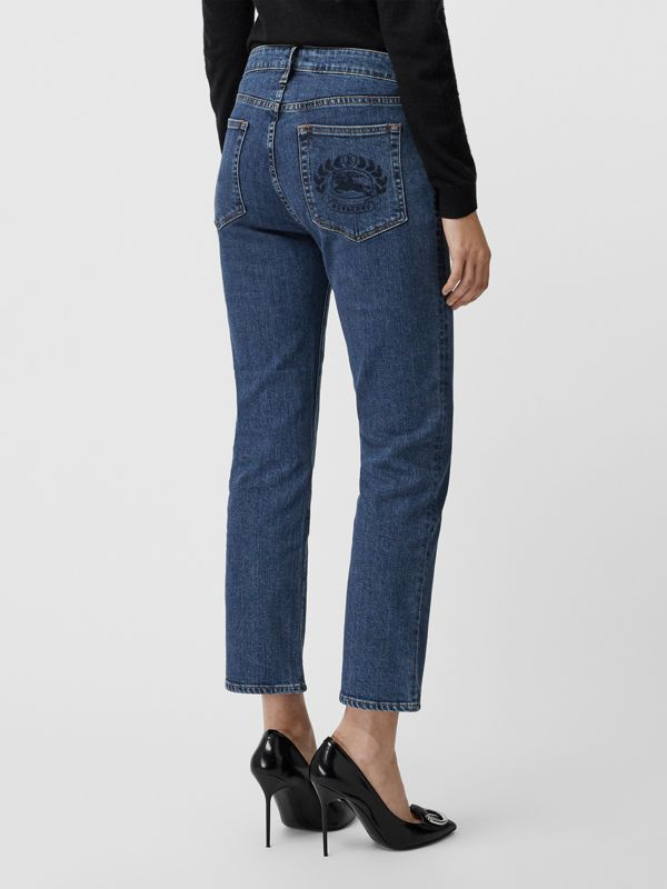 Straight Fit Japanese Denim Jeans in Blue - Women | Burberry - cell image 2