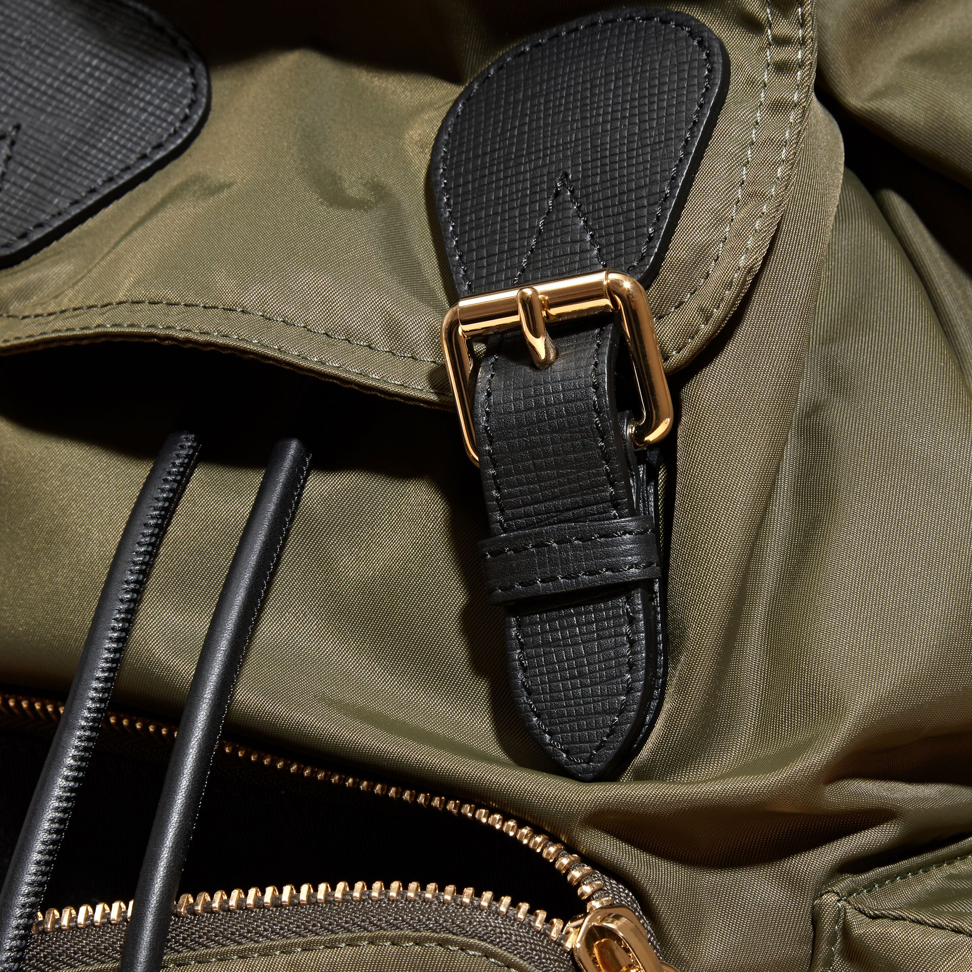 The Medium Rucksack in Technical Nylon and Leather in Canvas Green - gallery image 5