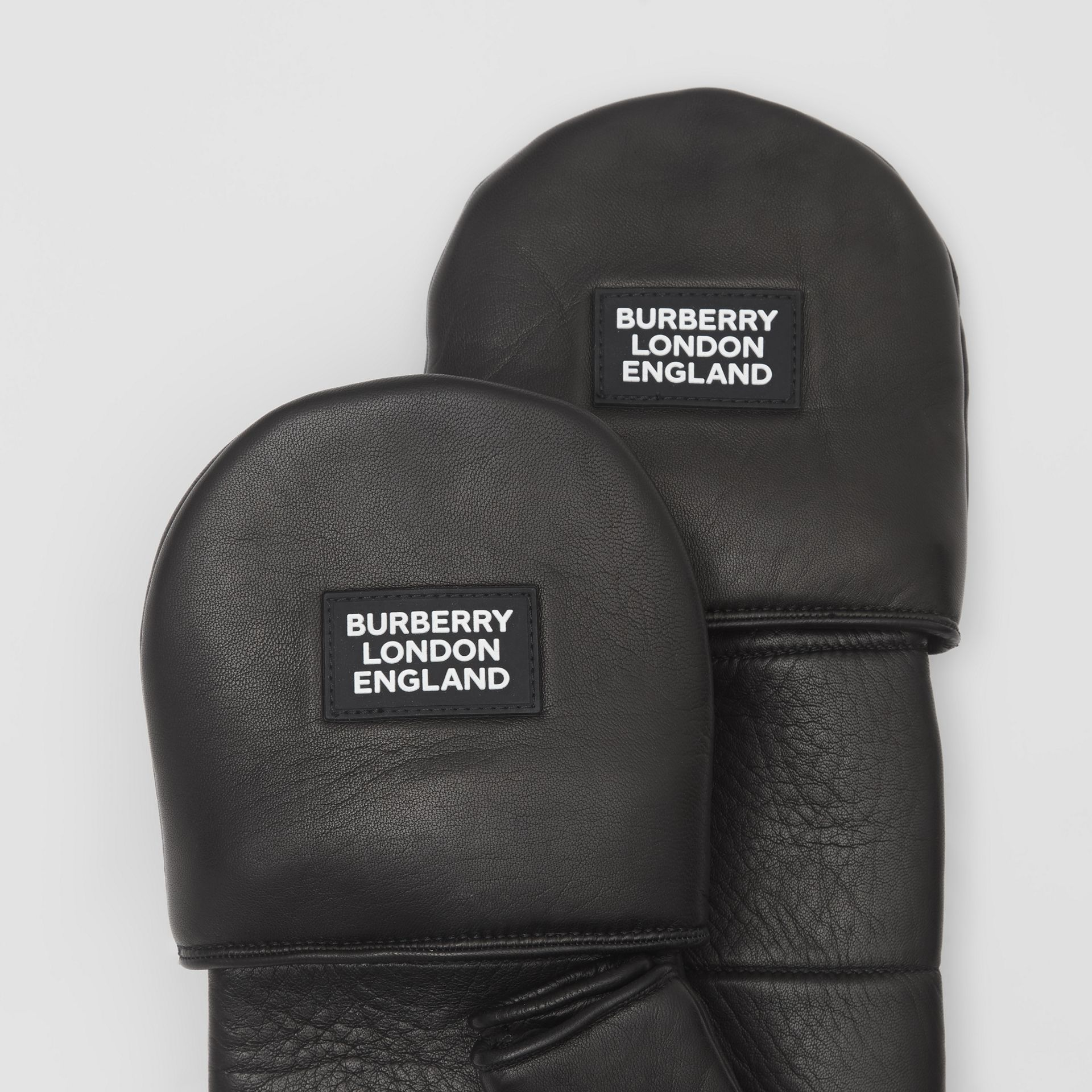 Logo Appliqué Lambskin Mittens in Black | Burberry United Kingdom - gallery image 1