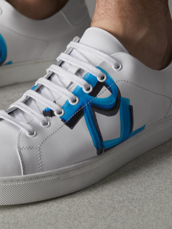 Logo Print Leather Sneakers in Optic White/bright Sky Blue - Men | Burberry Hong Kong - cell image 3