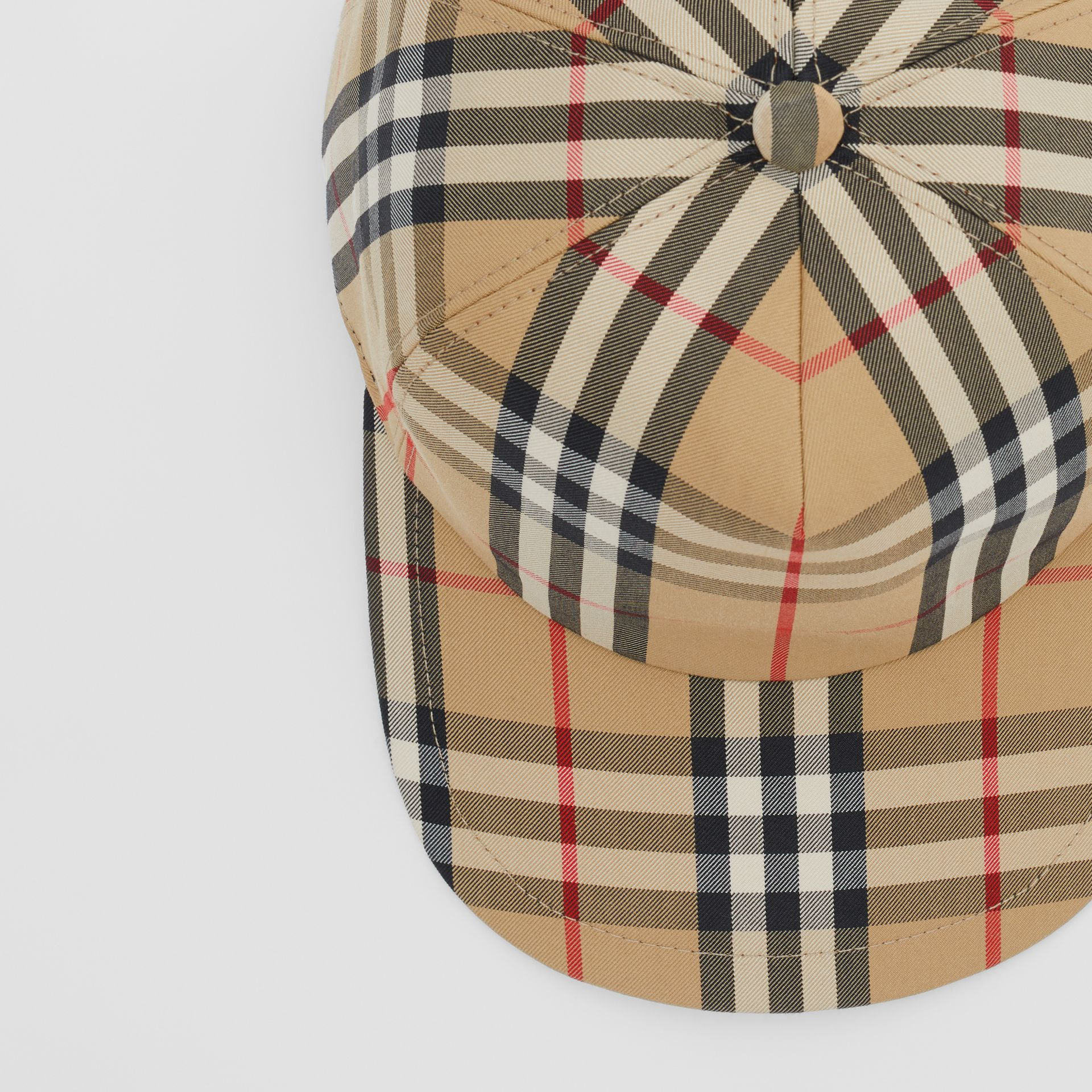 Logo Detail Vintage Check Baseball Cap in Archive Beige | Burberry - gallery image 1