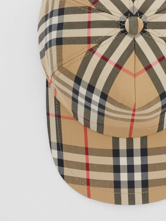 Logo Detail Vintage Check Baseball Cap in Archive Beige | Burberry - cell image 1
