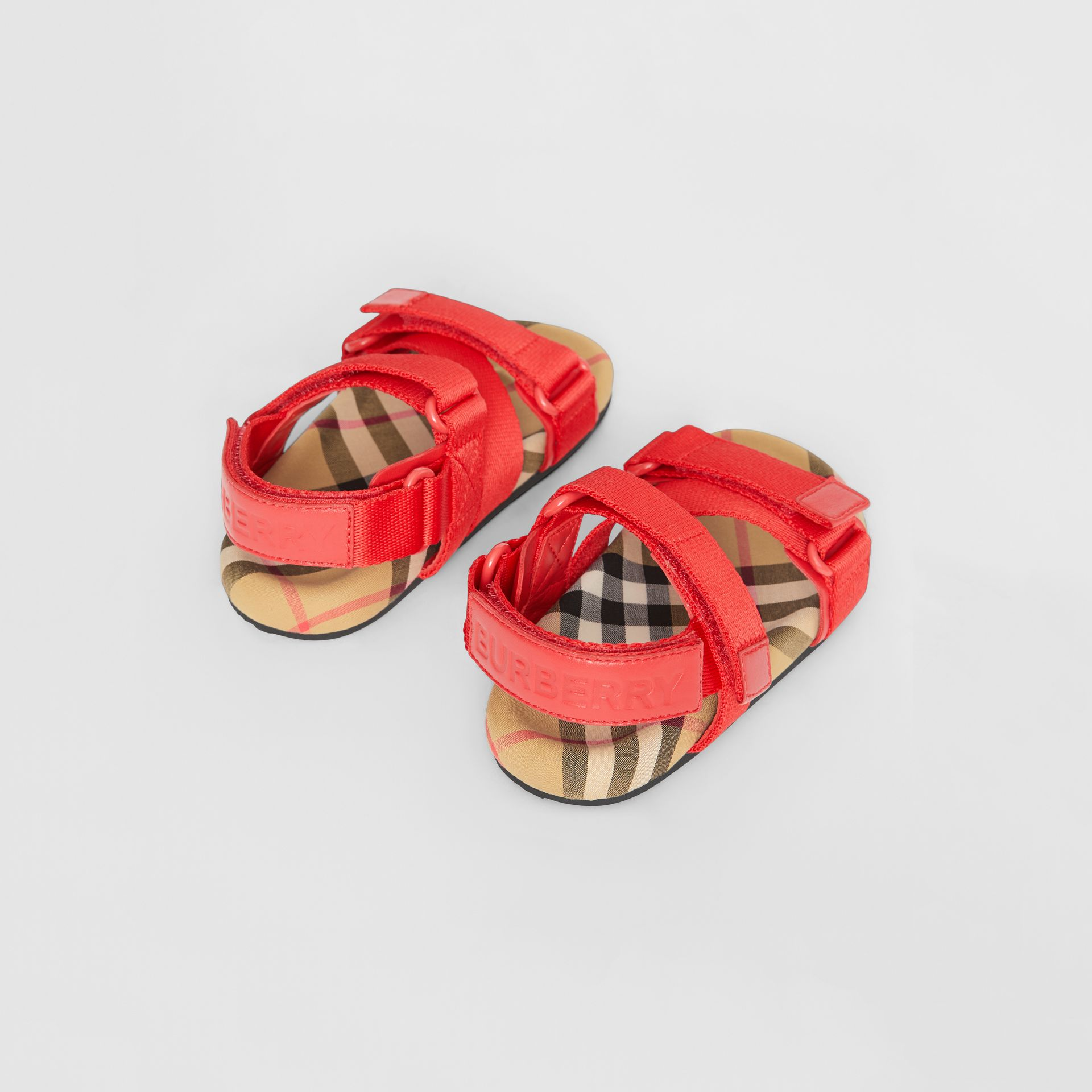 Ripstop Strap Vintage Check Cotton Sandals in Bright Red/antique Yellow - Children | Burberry Canada - gallery image 2