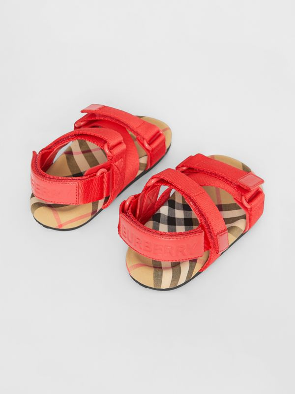 Ripstop Strap Vintage Check Cotton Sandals in Bright Red/antique Yellow - Children | Burberry Canada - cell image 2