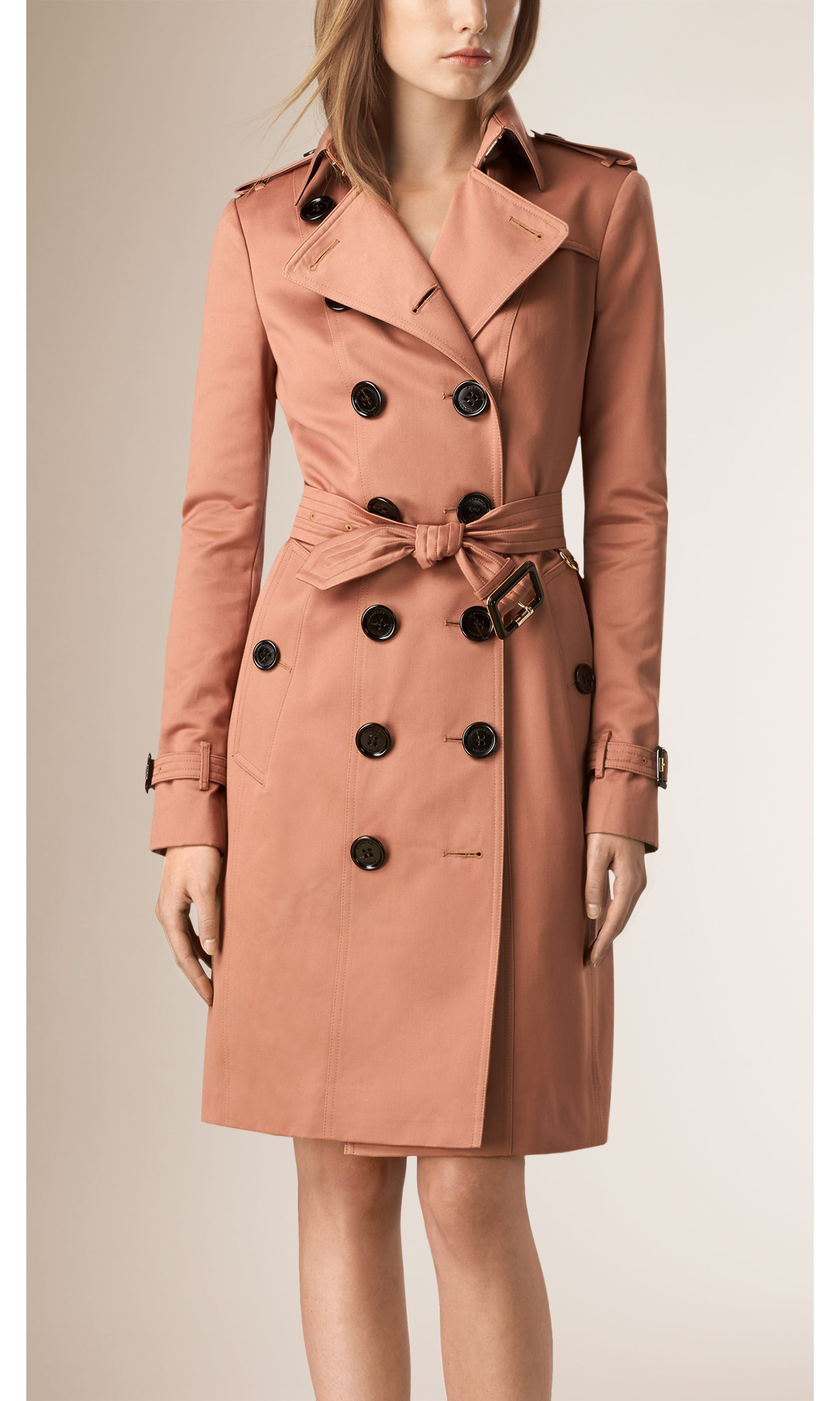 Antique garnet Cotton Sateen Trench Coat - gallery image 1