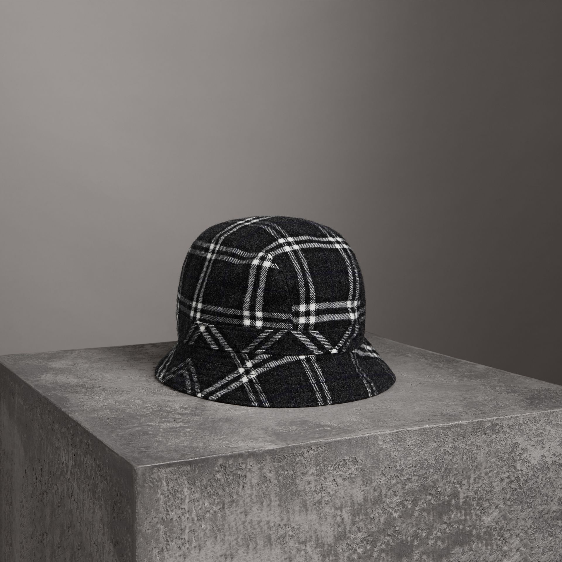Gosha x Burberry Check Flannel Bucket Hat in Charcoal | Burberry Singapore - gallery image 0