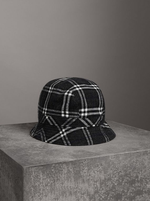 Gosha x Burberry Check Flannel Bucket Hat in Charcoal