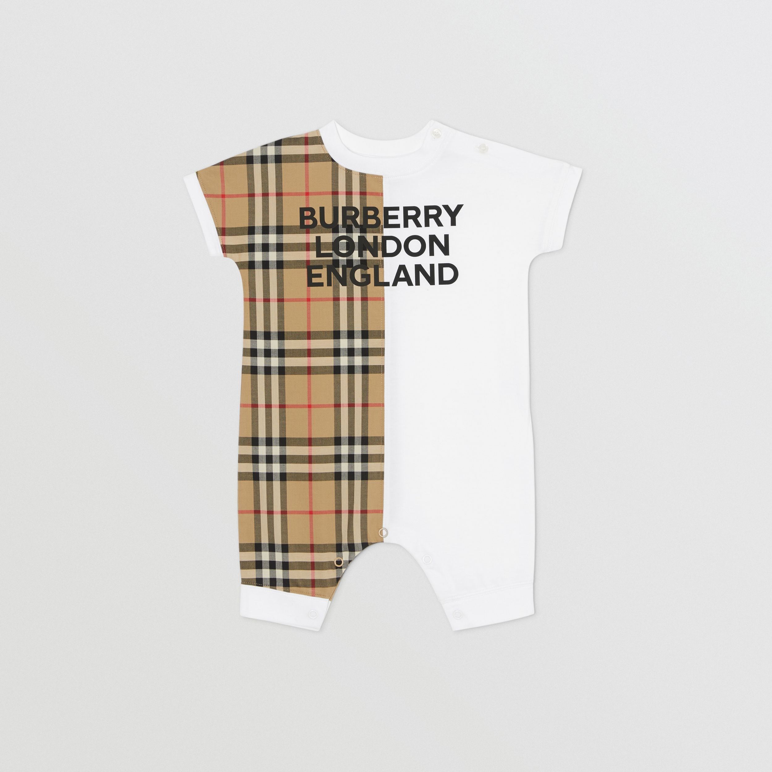 Vintage Check Panel Cotton Playsuit in White - Children | Burberry - 1