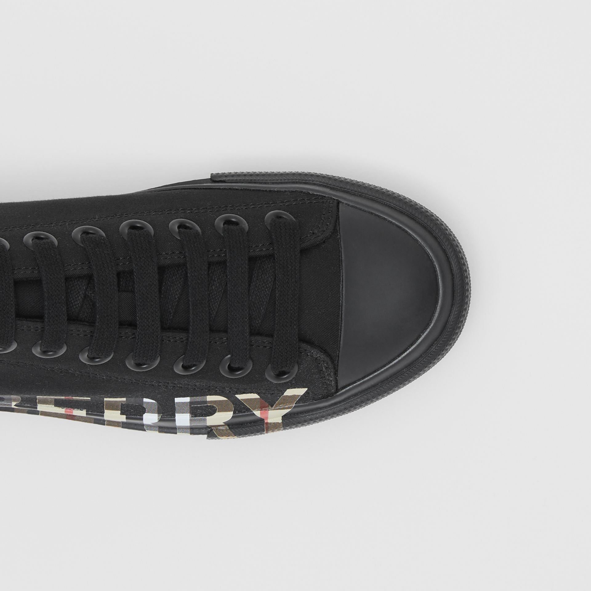 Vintage Check Logo Print Cotton Gabardine Sneakers in Black/archive Beige - Women | Burberry - gallery image 1