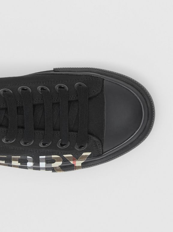 Vintage Check Logo Print Cotton Gabardine Sneakers in Black/archive Beige - Women | Burberry Canada - cell image 1