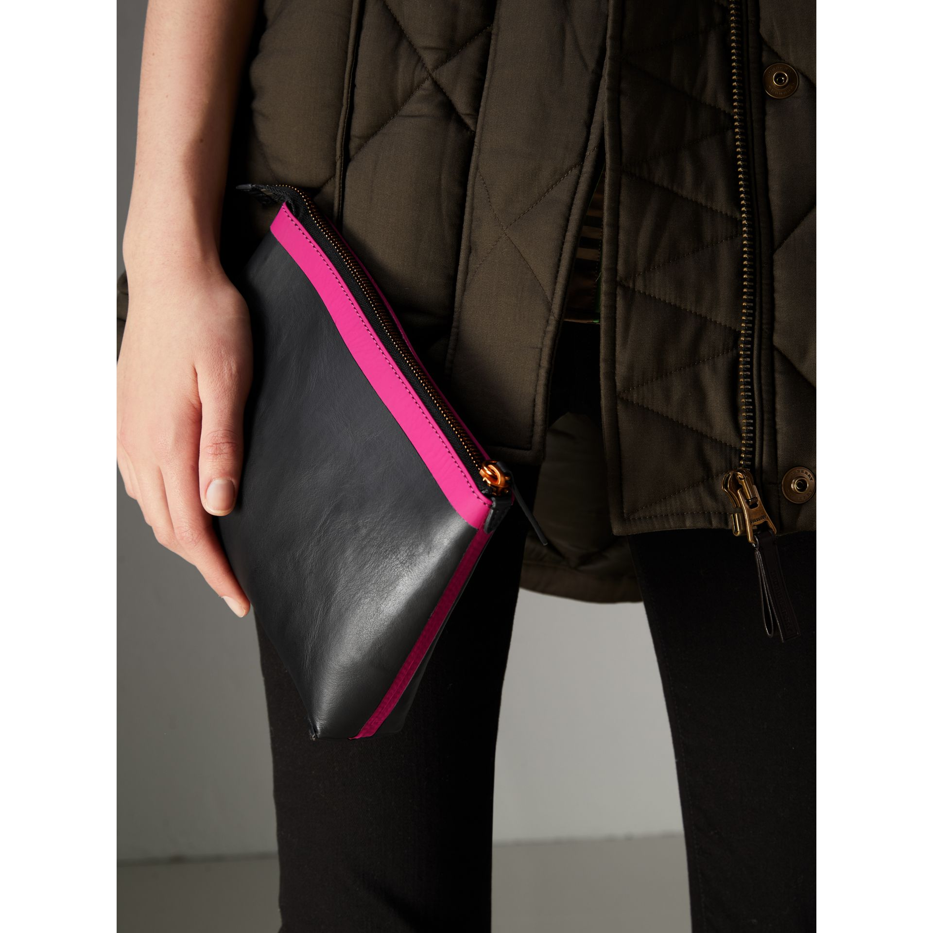 Bonded Leather Zip Pouch in Black/neon Pink - Women | Burberry United States - gallery image 3