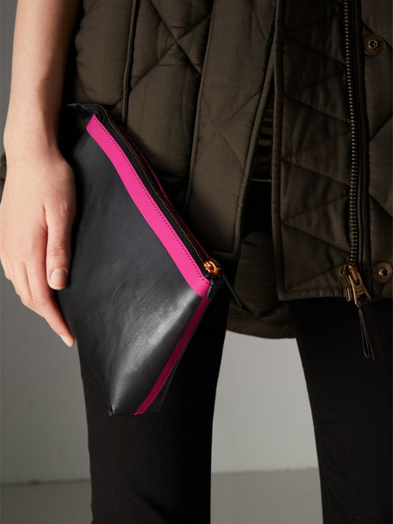 Bonded Leather Zip Pouch in Black/neon Pink - Women | Burberry United States - cell image 3