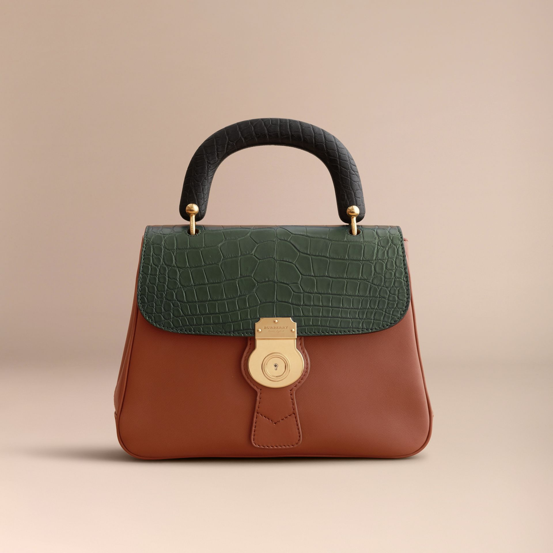 The Medium DK88 Top Handle Bag with Alligator in Tan/dark Forest Green - Women | Burberry - gallery image 7