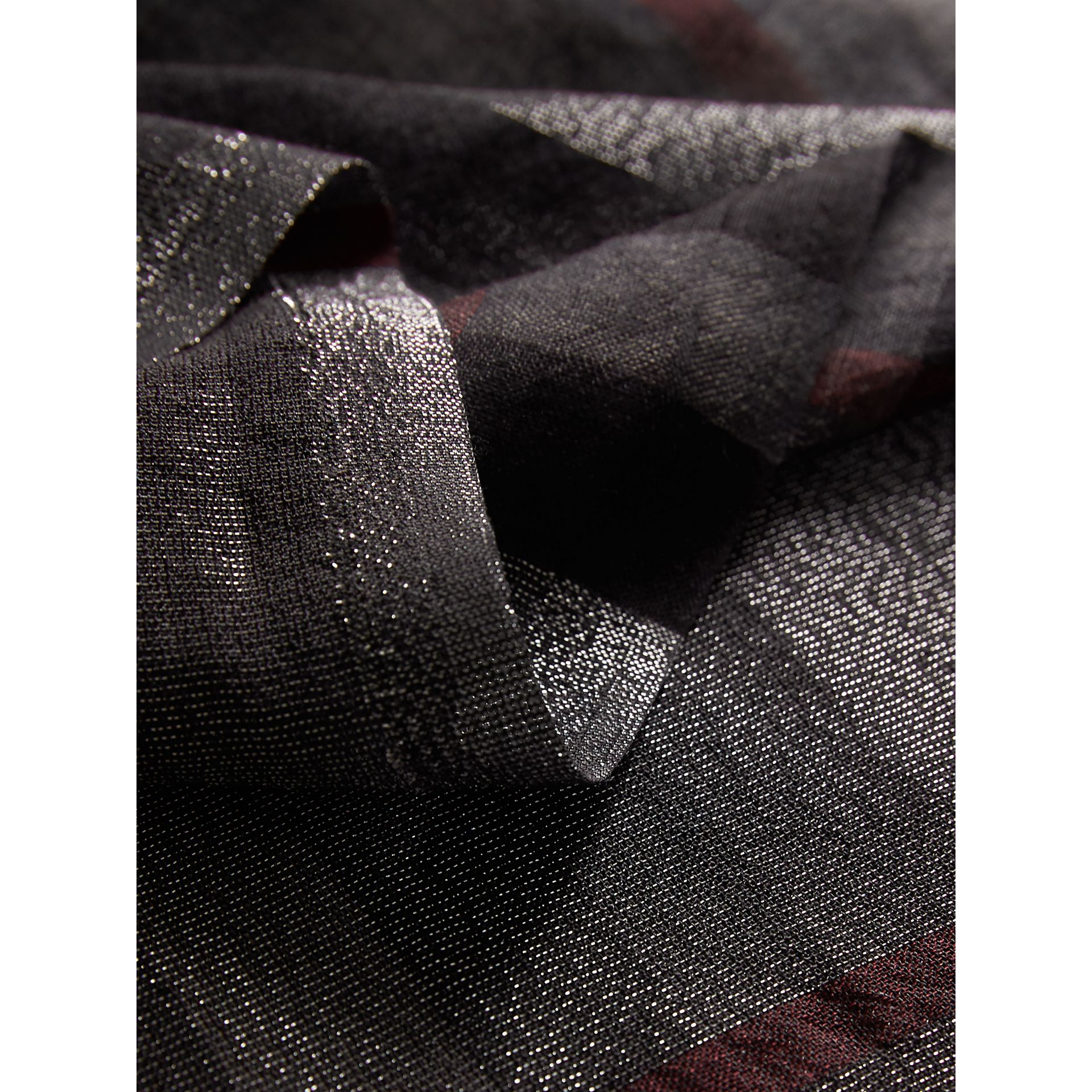 Metallic Check Silk and Wool Scarf in Charcoal - Women | Burberry United Kingdom - gallery image 1