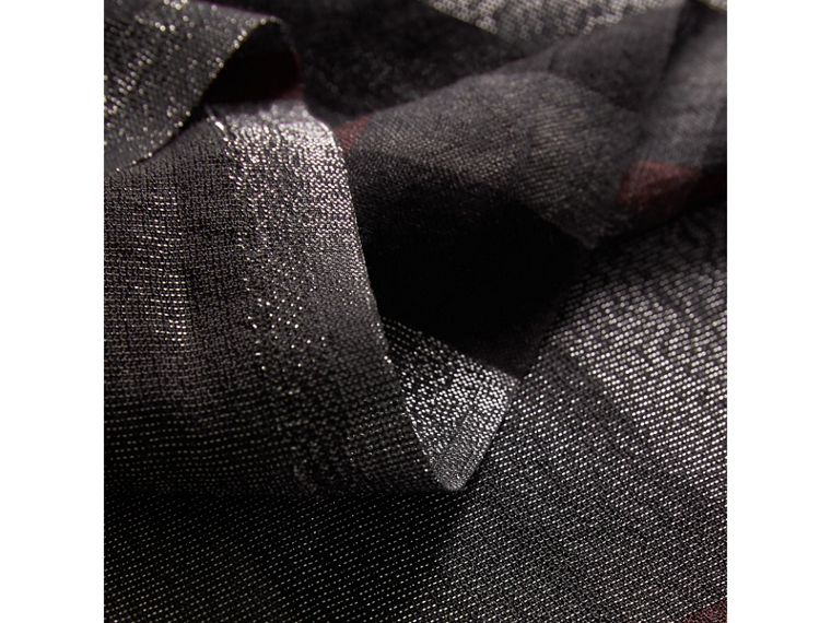 Metallic Check Silk and Wool Scarf in Charcoal - Women | Burberry United Kingdom - cell image 1