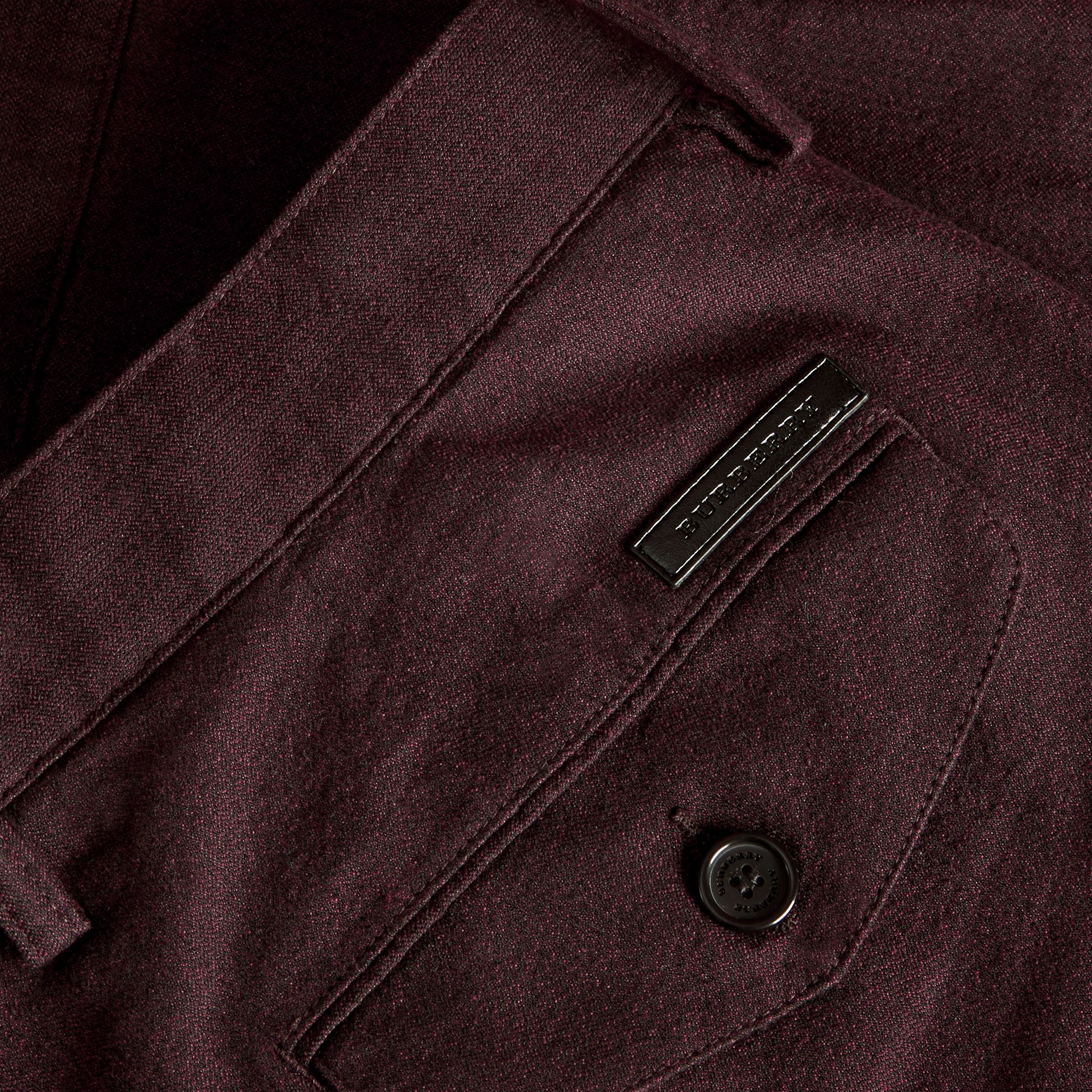 Deep claret Tailored Cotton Wool Blend Trousers - gallery image 2