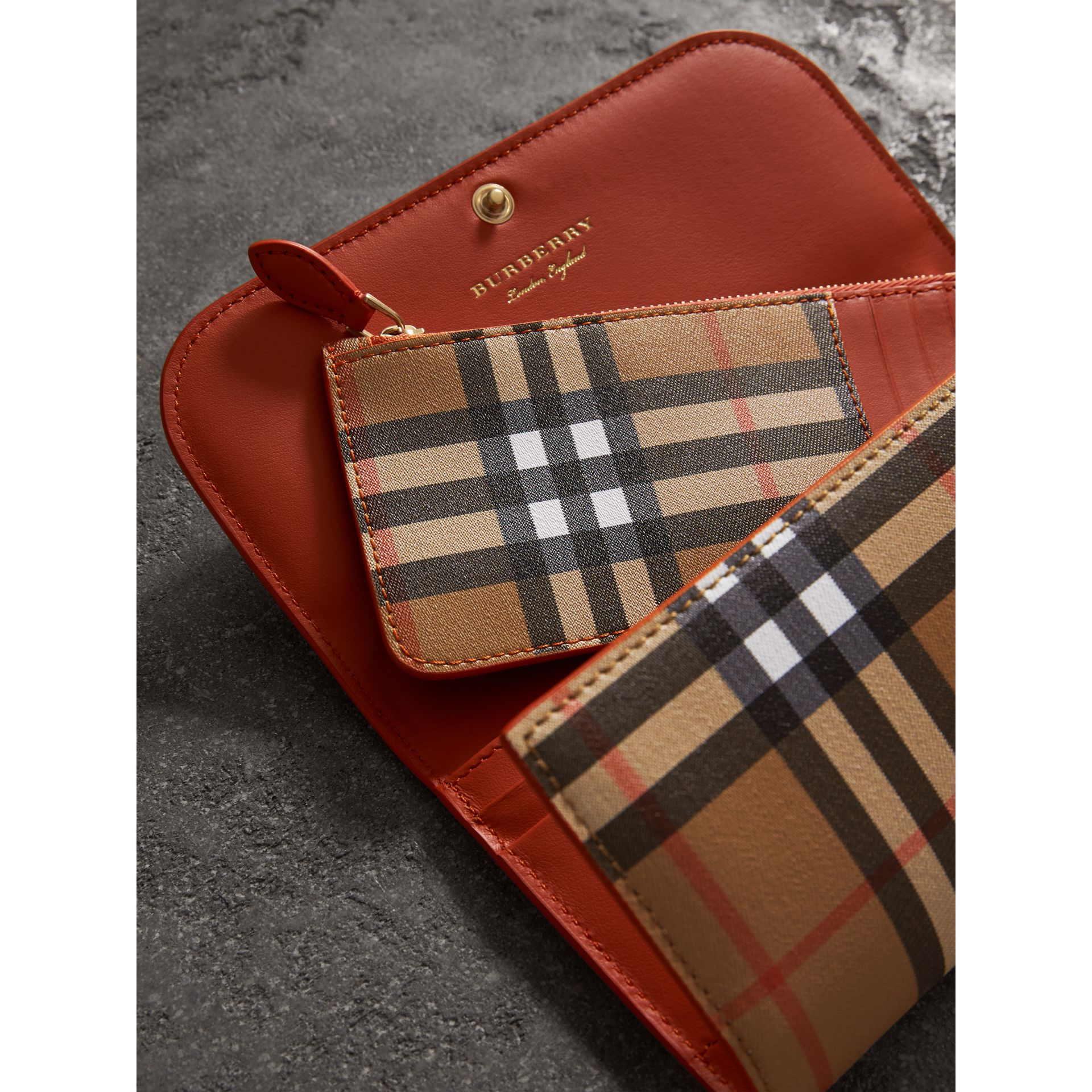 Vintage Check Continental Wallet and Pouch in Clementine - Women | Burberry Australia - gallery image 3