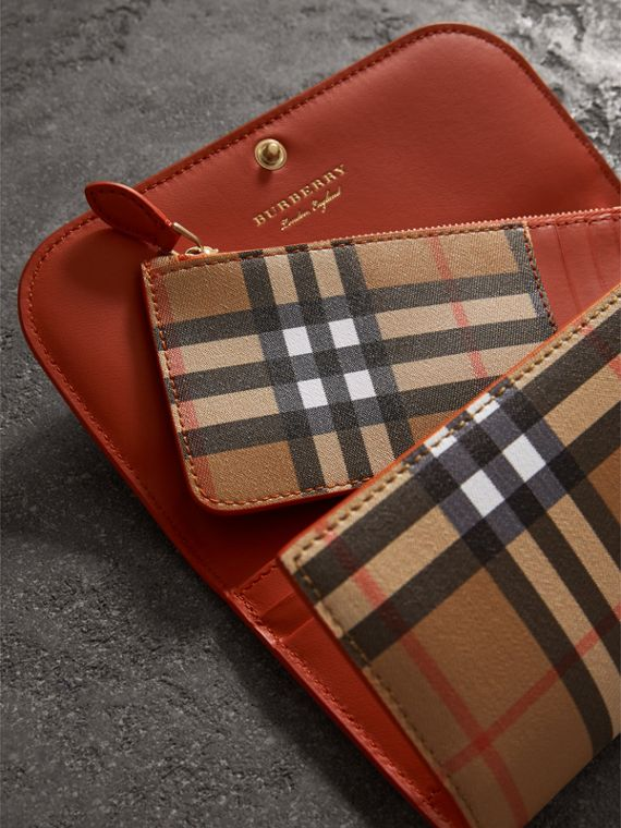 Vintage Check Continental Wallet and Pouch in Clementine - Women | Burberry Australia - cell image 3