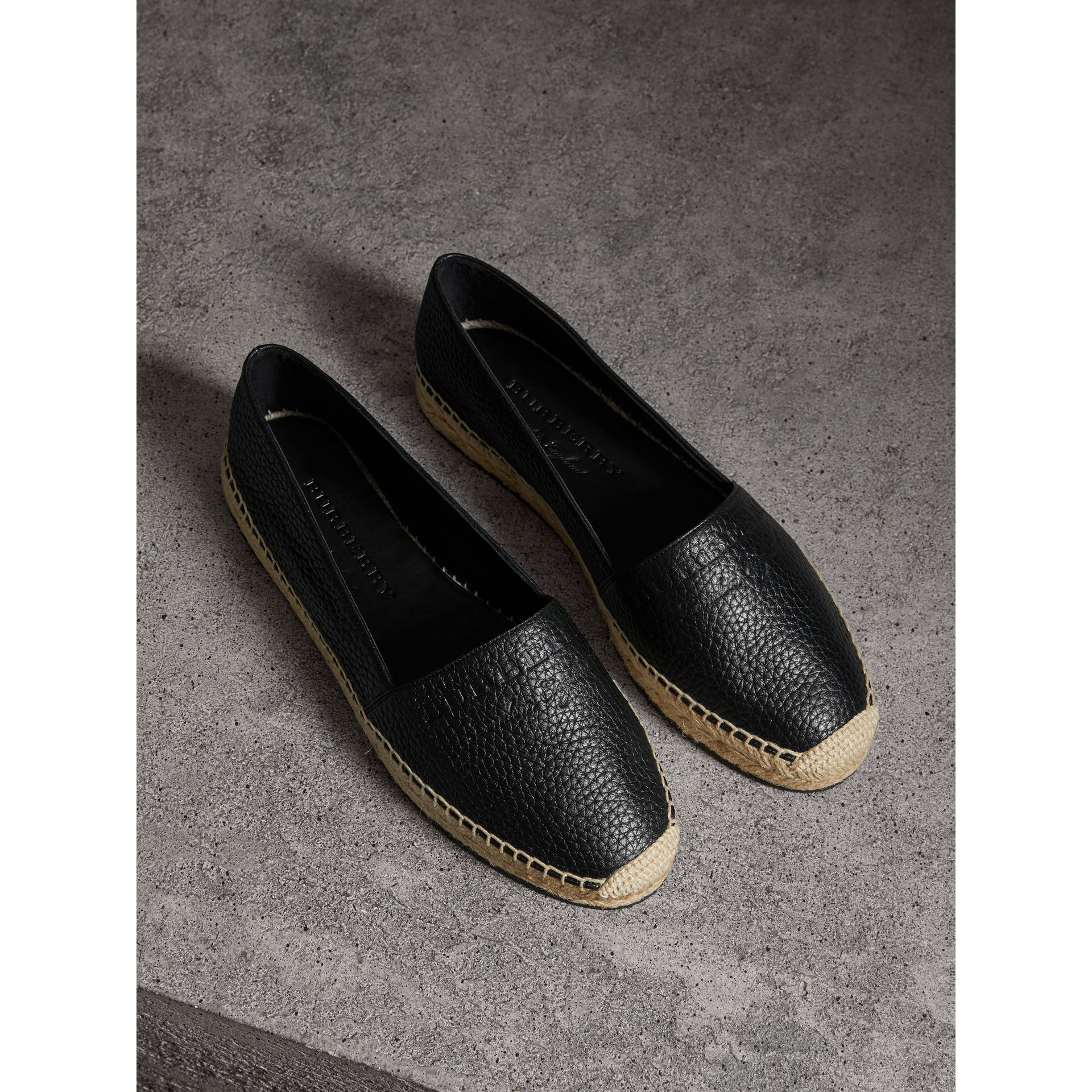 Embossed Grainy Leather Espadrilles in Black - Women | Burberry Singapore - gallery image 0