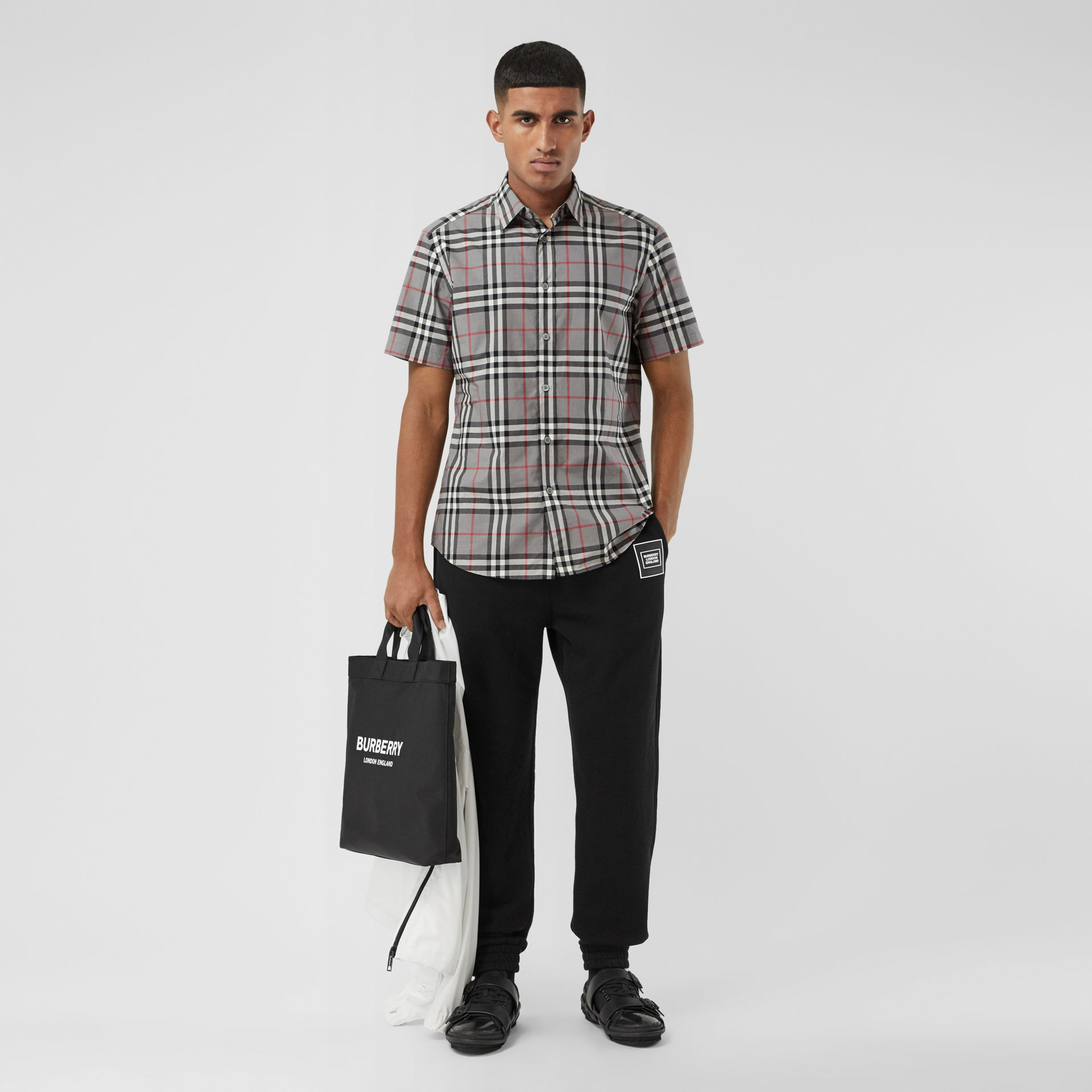 Short-sleeve Check Cotton Poplin Shirt in Storm Grey Melange - Men | Burberry United States - gallery image 4