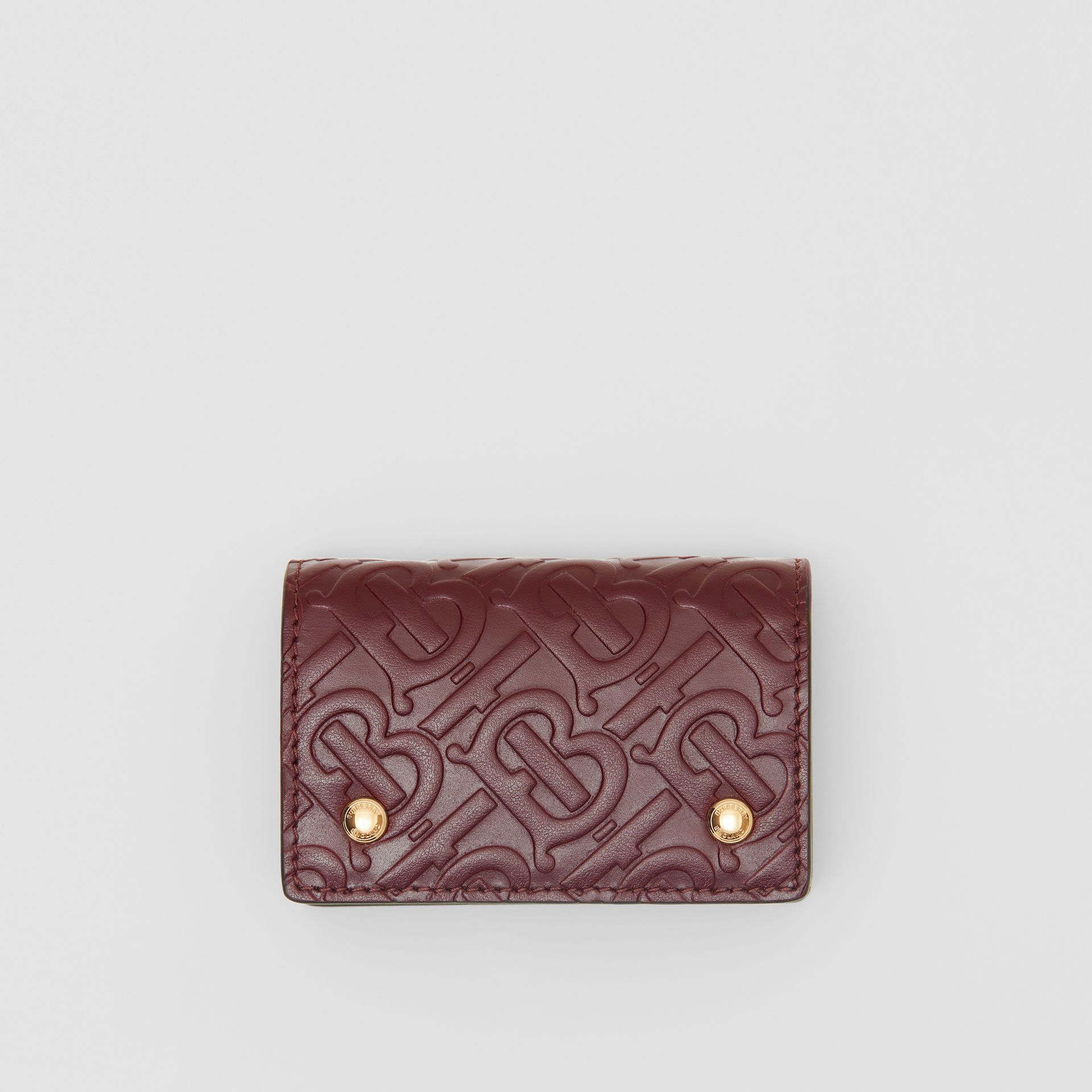 Monogram Leather Card Case in Oxblood | Burberry - gallery image 0
