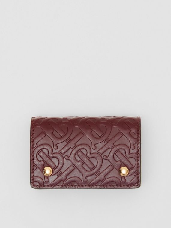 Monogram Leather Card Case in Oxblood