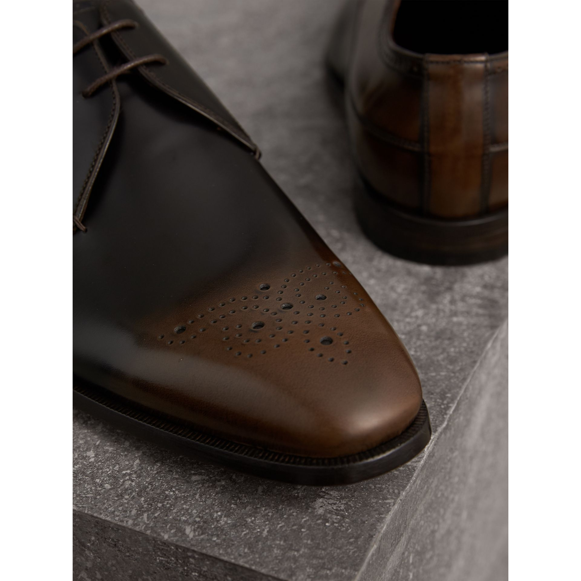 Ombré Perforated Detail Leather Derby Shoes in Chocolate Brown - Men | Burberry United Kingdom - gallery image 2