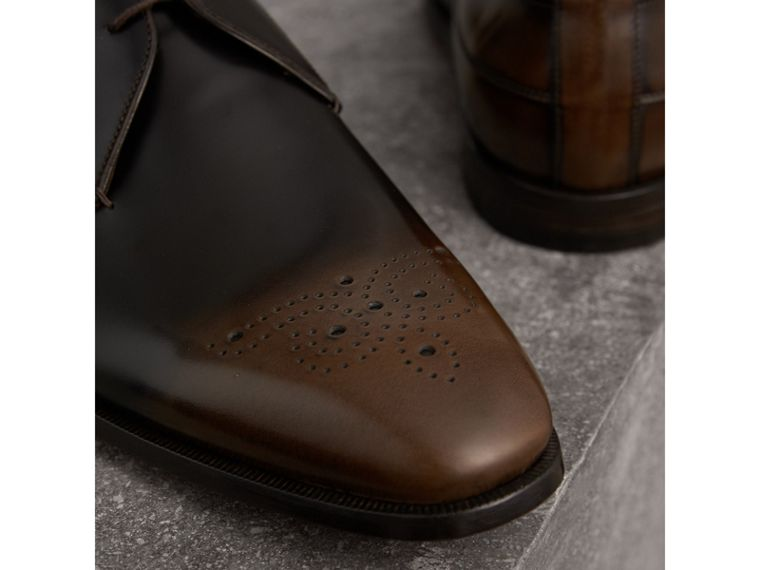 Ombré Perforated Detail Leather Derby Shoes in Chocolate Brown - Men | Burberry - cell image 1