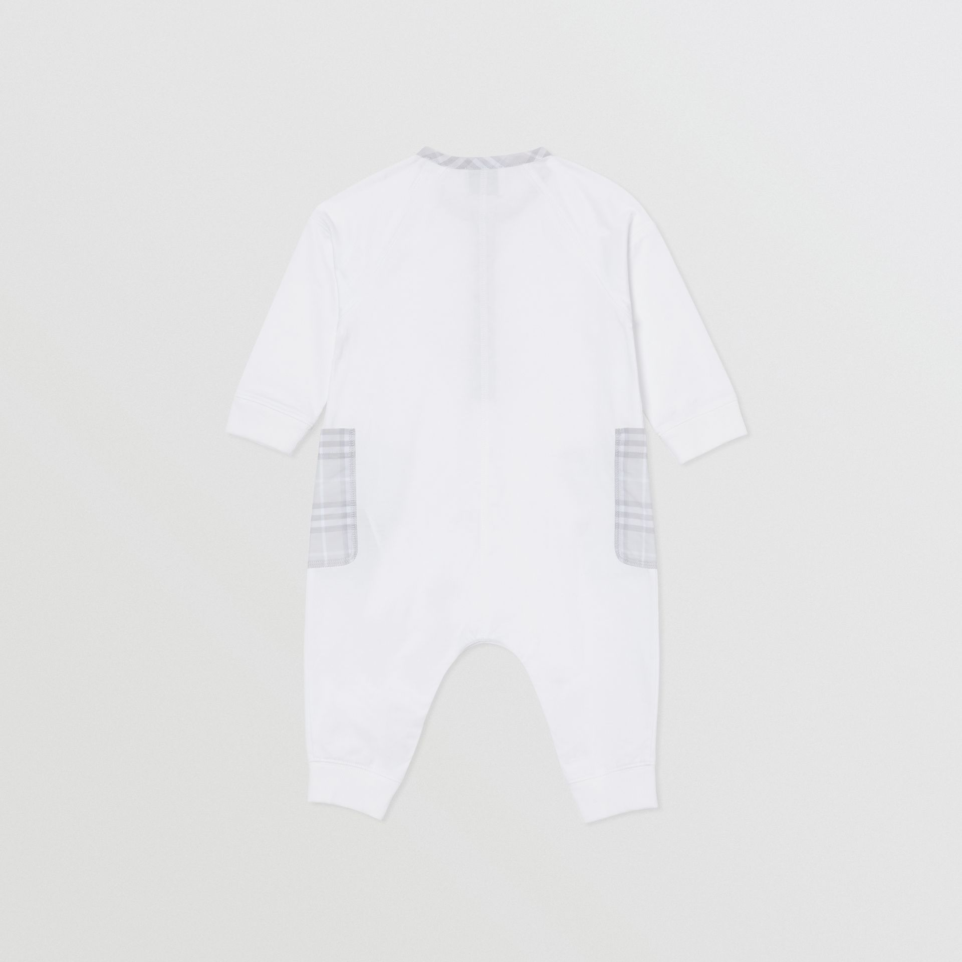 Check Trim Cotton Jumpsuit in White - Children | Burberry Singapore - gallery image 2