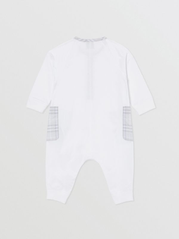Check Trim Cotton Jumpsuit in White - Children | Burberry Singapore - cell image 2