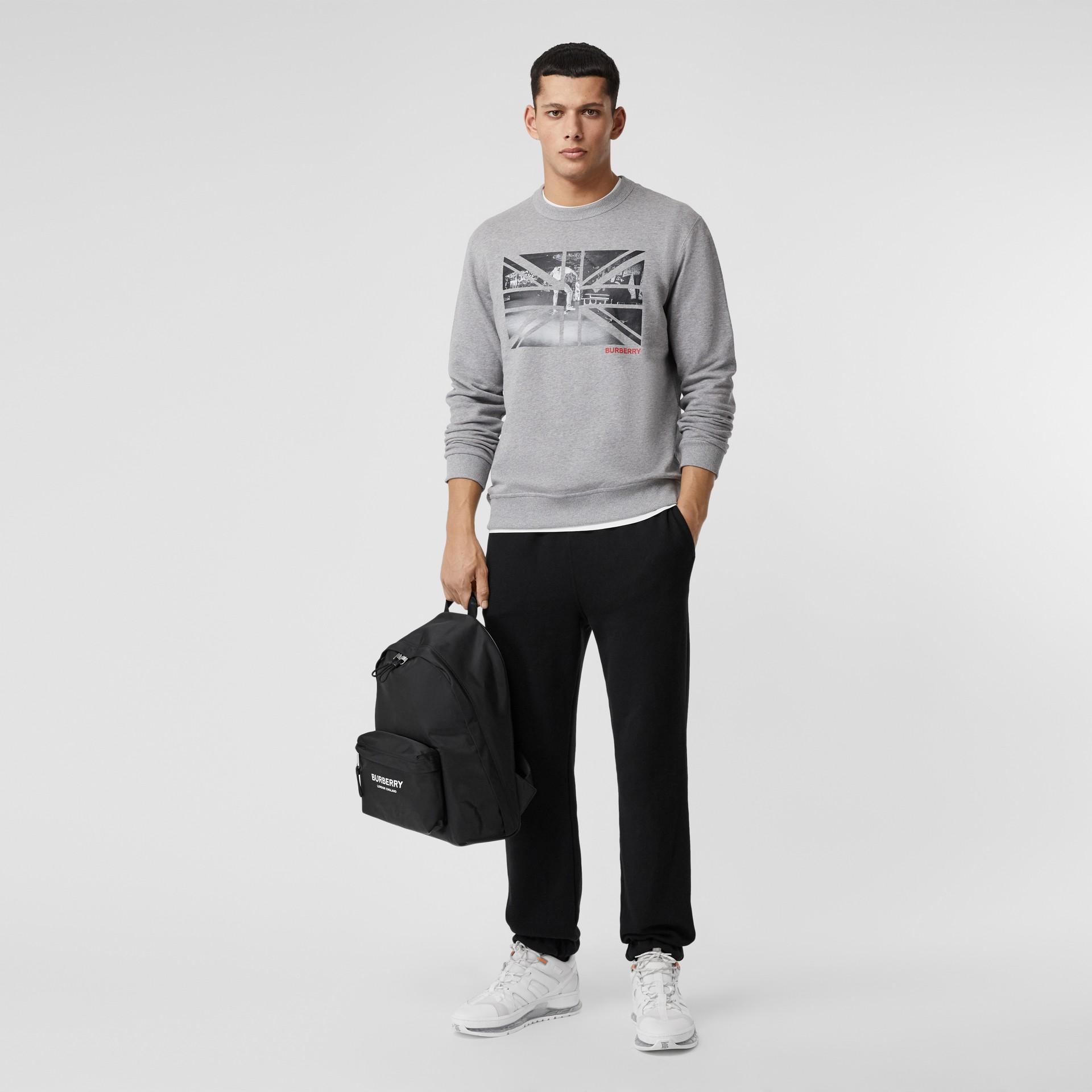 Union Jack Photo Print Cotton Sweatshirt in Pale Grey Melange - Men | Burberry - gallery image 4