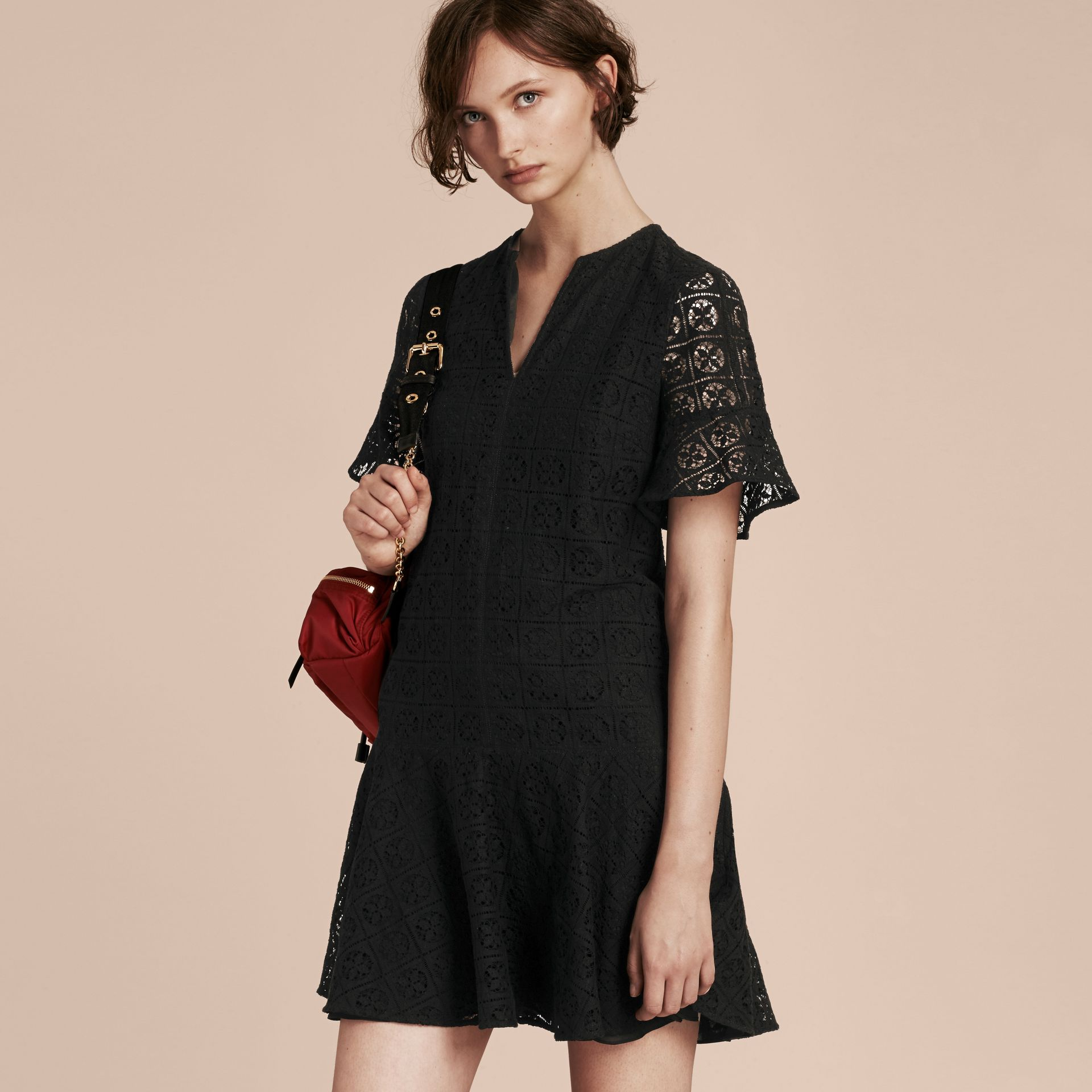 Black Lace Fit and Flare Dress - gallery image 6