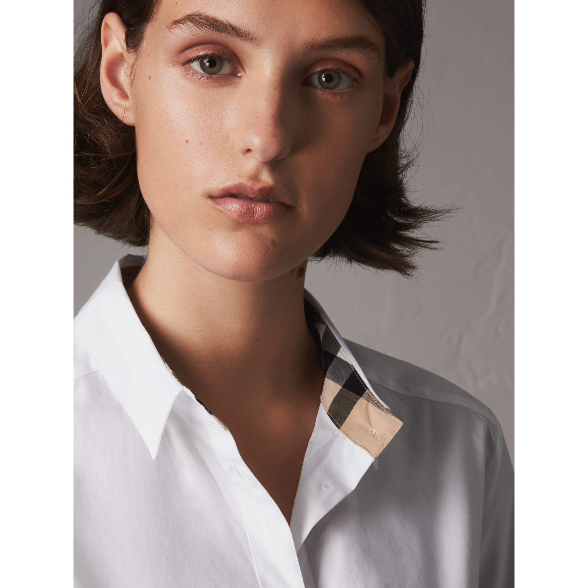Check Detail Stretch Cotton Shirt in White - Women | Burberry - gallery image 1