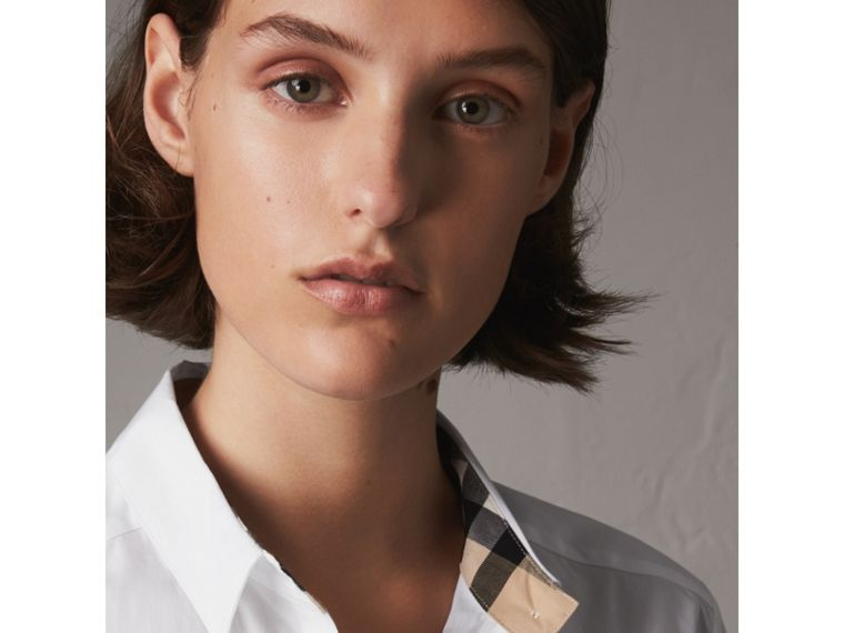 Check Detail Stretch Cotton Shirt in White - Women | Burberry - cell image 1