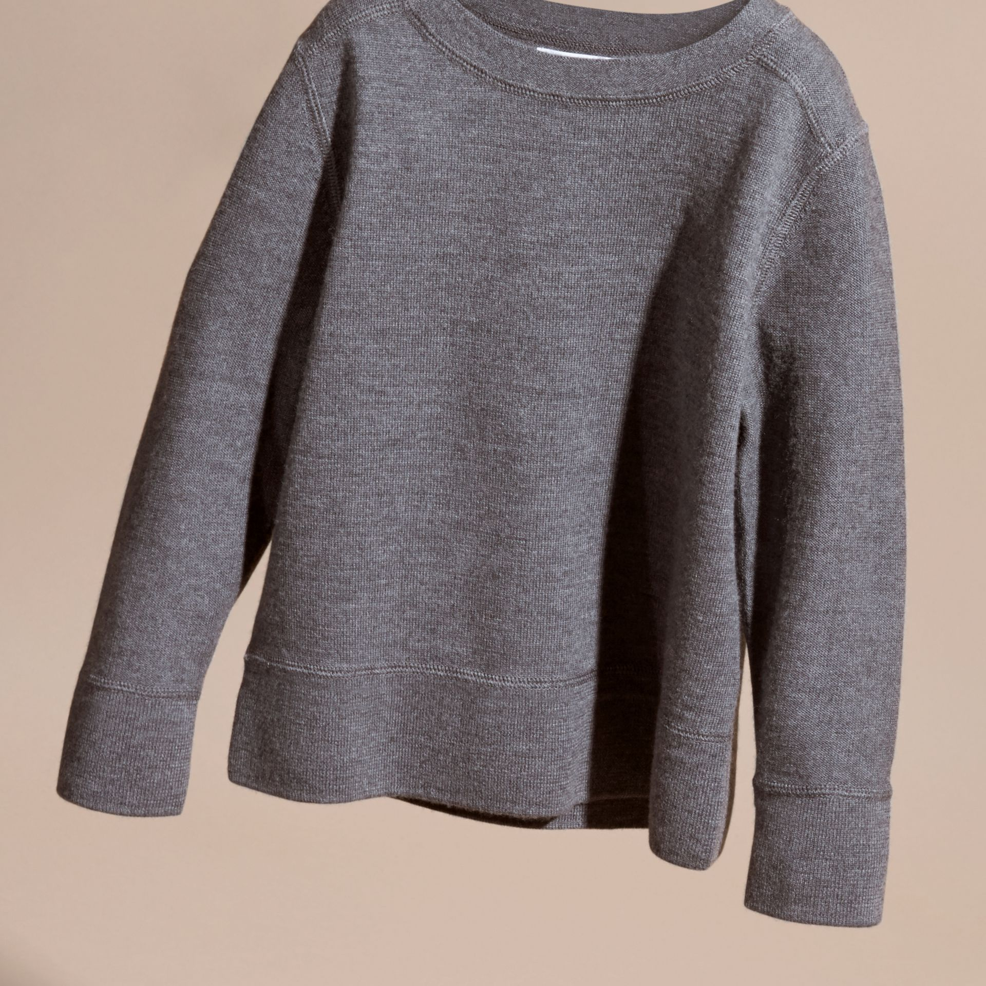 Check Elbow Patch Merino Wool Sweater in Mid Grey Melange | Burberry - gallery image 3